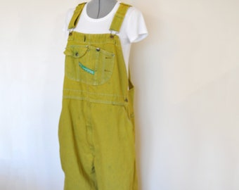 0ab67b50cef Gold Mens XL Bib OVERALLS Pants - Yellow Dyed Upcycled Key Imperial Cotton  Denim Overalls - Adult Women Mens Size Extra Large (46 W x 28L)