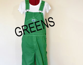 CUSTOM DYED Green Bib Overall Pants - Kelly Teal Apple Dyed Adult Youth Overalls Shorts - Waist 30, 32, 34, 36, 38, 40, 42, 44, 46, 48, 50