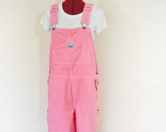 CUSTOM DYED Pink Bib Overall Pants - Pink Fuchsia Coral Dyed Adult Youth Overalls Shorts - Waist 30, 32, 34, 36, 38, 40, 42, 44, 46,