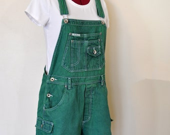 04d7482144d Green Jrs. Large Bib OVERALL Shorts - Kelly Green Dyed Upcycled ReVolt Denim  Shortalls - Adult Women s Size Juniors Large (34 Waist)