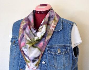 Purple Moss SCARF - Violet Rose Blue Green Ice Dyed Hand Made Shibori Tie  Dye Cotton Bandana Scarf  216 - 21 x 21