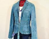 Aqua Jrs. Medium Denim JACKET - Aquamarine Hand Dyed Upcycled Repurposed Old Navy Denim Trucker Jacket - Adult Women 39 s Medium (38 quot chest)