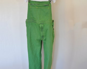 463325aca38d0 Green Medium Bib OVERALL Pants - Lime Green Dyed Upcycled Florawest  MATERNITY Denim Overall - Adult Womens Medium Large (38-40W x 30L)