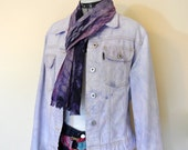 Lilac Jrs. Large Denim JACKET - Lavender Hand Dyed Upcycled Colin 39 s Denim Cropped Trucker Jacket - Adult Womens Juniors Large(38 quot chest)