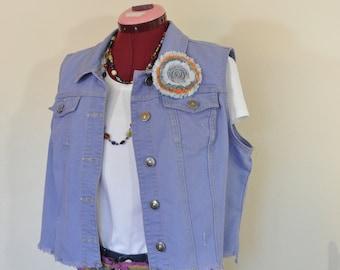 bcbbaa125b6c7 Lilac Violet Large Denim Vest - Purple Dyed Upcycled Cato Cropped Denim  Trucker Vest - Adult Womens Size Large (44
