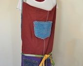 3X Dyed Denim Rustic Artists Apron 95 - Red Aqua Purple Dyed Upcycled Fringed Denim Adult Youth Apron - Plus Size Extra Large (36 Waist)