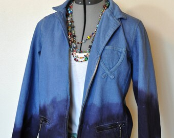b07f8a387c769 Blue PM Jean JACKET - Royal Blue Navy Hand Dyed Ombre Upcycled Relativity  Denim Blazer Jacket - Adult Womens Size Petite Medium (40 chest)