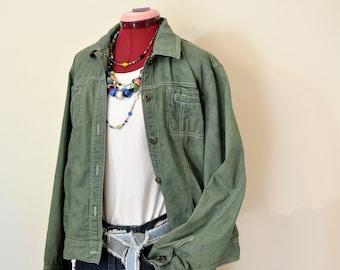 38 chest Green Hand Dyed Upcycled Jolt Denim Trucker Jacket Green Sz Medium Denim JACKET Teen Girls Sz Medium