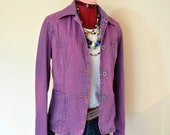 Fuchsia Small Denim JACKET - Pink Violet Dyed Vintage Upcycled J Crew Denim Blazer Jacket - Adult Womens Size Small (38 quot Chest)