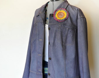 e006020c0fe77 Plum 2X Denim JACKET - Violet Raisin Purple Violet Dyed CJ Banks Denim  Blazer Jacket - Adult Womens Plus Size Extra Large XL (56