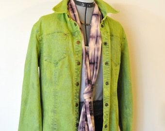 cf1f3743faf Lime Sz 10 Medium Denim JACKET - Chartreuse Green Hand Dyed Upcycled Evan  Picone Denim Shirt Jacket - Adult Womens Size 10 Medium (44 chest)