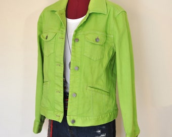 37fd7777515fc5 Green Small Denim JACKET - Lime Apple Green Dyed Upcycled JJill Denim  Sahara Blazer Jacket - Adult Womens Size Small (38