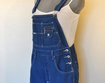 a78d541806d Blue Jrs. Medium Bib OVERALL Shorts - Hand Dyed Cobalt Blue Revolt Cotton Denim  Overall Shorts - Adult Womens Size Juniors Medium (32 Waist)