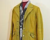 Gold Sz 14 Large Denim JACKET - Golden Topaz Dyed Upcycled Ann Taylor Loft Denim Blazer Jacket - Adult Womens Size 14 Large (46 chest)