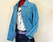 Blue Juniors Large Denim JACKET - Royal Blue Hand Dyed Upcycled Periscope Denim Trucker Jacket - Adult Womens Teen Jrs Large (38 quot Chest)