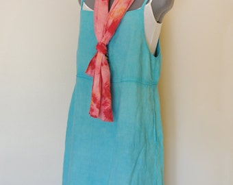 6a5f892045d Aqua Small Linen Sun DRESS - Hand Dyed Teal Upcycled Vintage Studio by Mish  Linen Jumper Sun Dress - Adult Womens Size Small (38