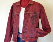 Red Mens Small Denim JACKET - Scarlet Red Dyed Upcycled Vintage Wrangler Denim Trucker Jacket - Adult Men 39 s Size Small (42 quot chest)