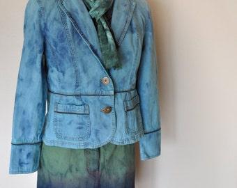 a2bdae7f55651 Aqua Medium Denim JACKET - Aquamarine Dyed Upcycled Repurposed Relativity  Denim Blazer Jacket - Adult Womens Size Petite Medium (38