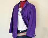 Violet Medium Denim JACKET - Purple Dyed Upcycled Repurposed Sigrid Olsen Denim Blazer Jacket - Adult Women Sz 12 Medium (40 quot chest)