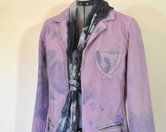 115e2c567ac3e Lilac Medium Denim JACKET - Wisteria Dyed Upcycled Relativity Denim Blazer  Jacket - Adult Womens Size Medium (40