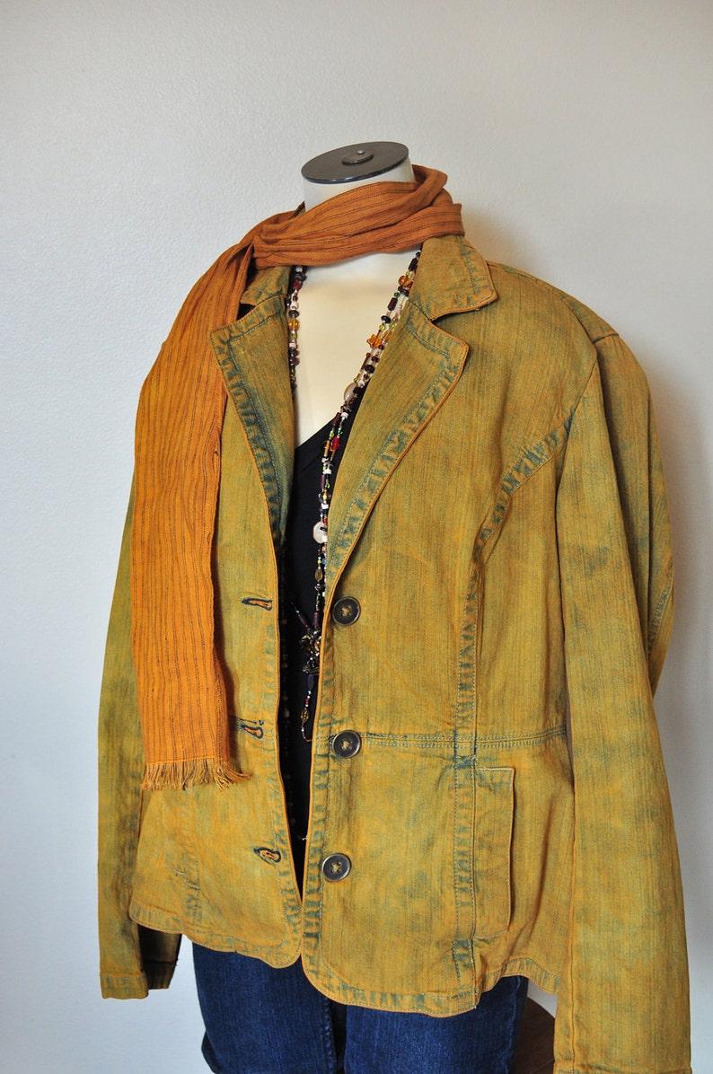 Golden Topaz Hand Dyed Upcycled St Gold Medium Denim JACKET Adult Womens Size Medium Johns Bay Denim Blazer Jacket 38 chest