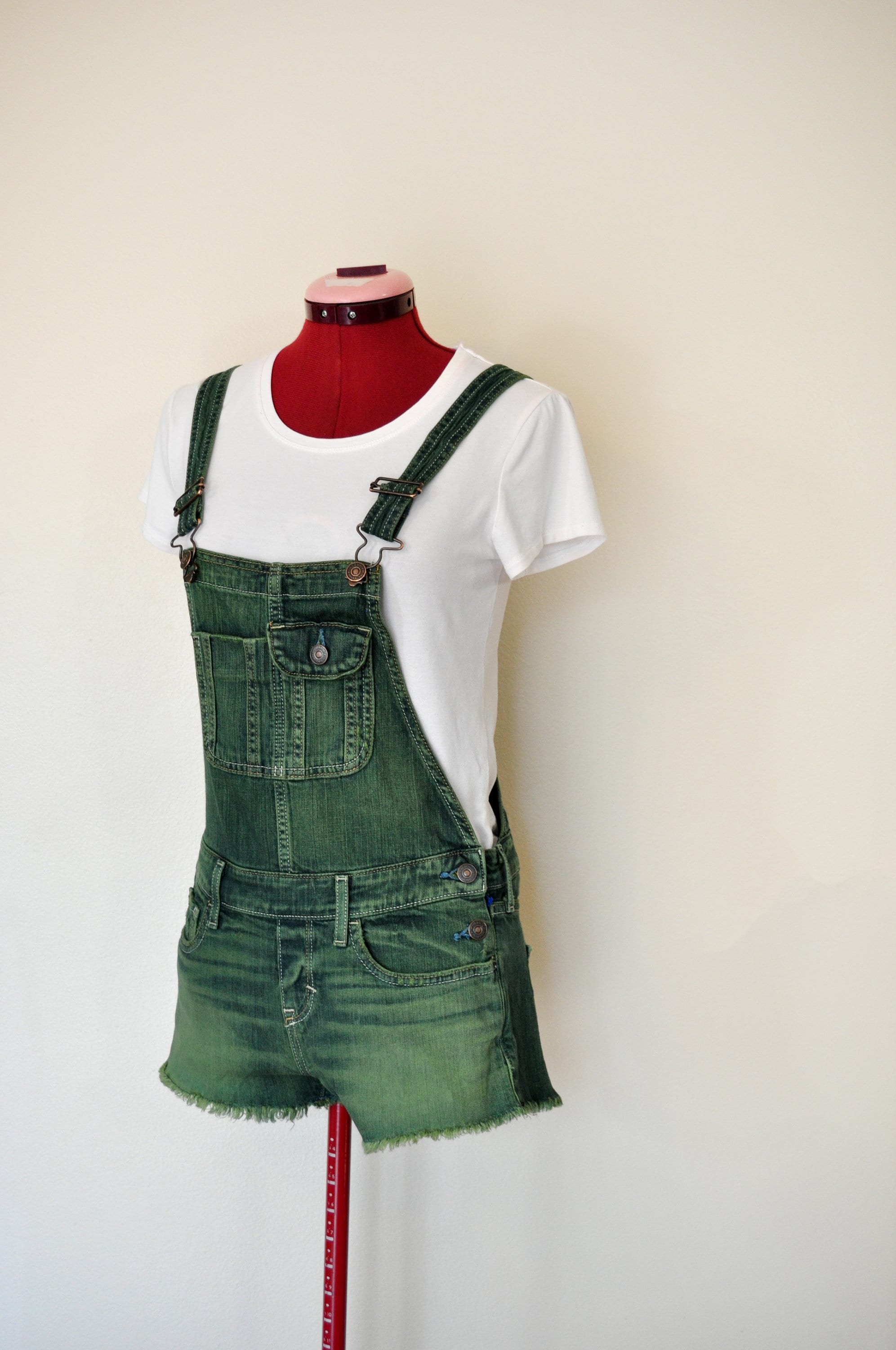 Vintage Overalls & Jumpsuits Green Xs Bib Overall Shorts - Kelly Dyed Upcycled Abercrombie Fitch Cotton Denim Shortall Adult Women Juniors Extra Small  30 Waist $25.00 AT vintagedancer.com