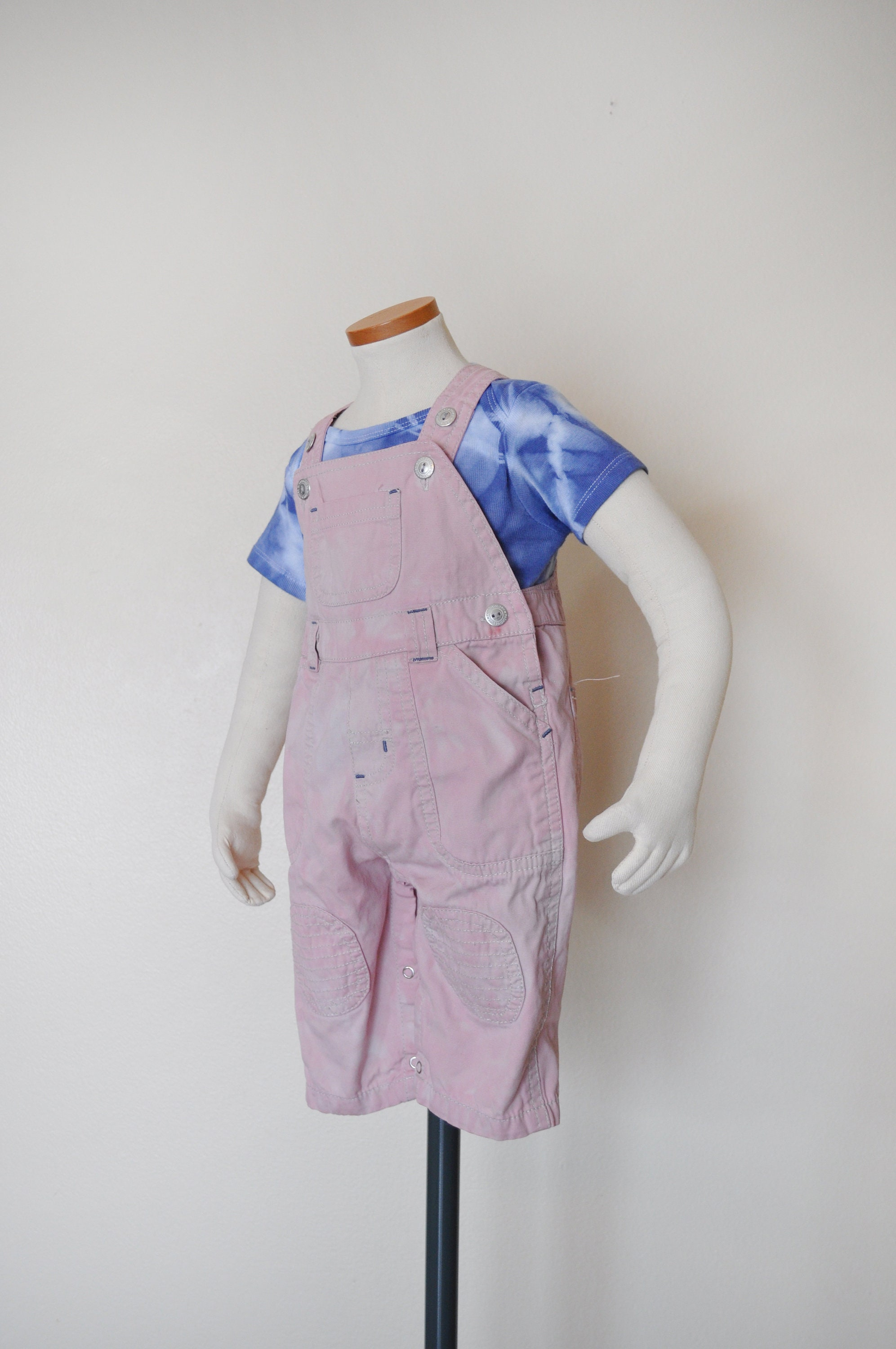 Vintage Overalls & Jumpsuits Pink Kids 36 Mo Bib Overall Pants - Pale Dyed Children Faded Glory Cotton Overalls Baby Infant Child Size Months  20W X 6 L $25.00 AT vintagedancer.com