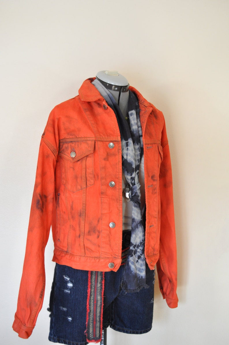f9d0b2417 Orange Mens Small Denim JACKET - Red Orange Dyed Upcycled Vintage 80s Gap  Denim Trucker Jacket - Adult Mens Size Small (46 chest)