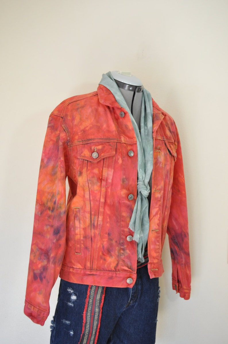 9757dbcf5 Orange Small Denim JACKET - Orange Cherry Pink Red Dyed Upcycled Gap  Trucker Jacket - Adult Men Size Small (38 chest)