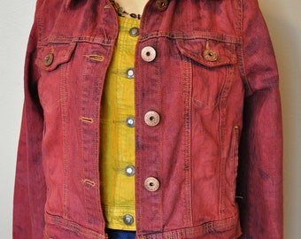 "Red Jrs. Medium Denim JACKET - Scarlet Red Hand Dyed Upcycled Glo Denim Trucker Jacket - Adult Womens Size Juniors Medium (36"" chest)"