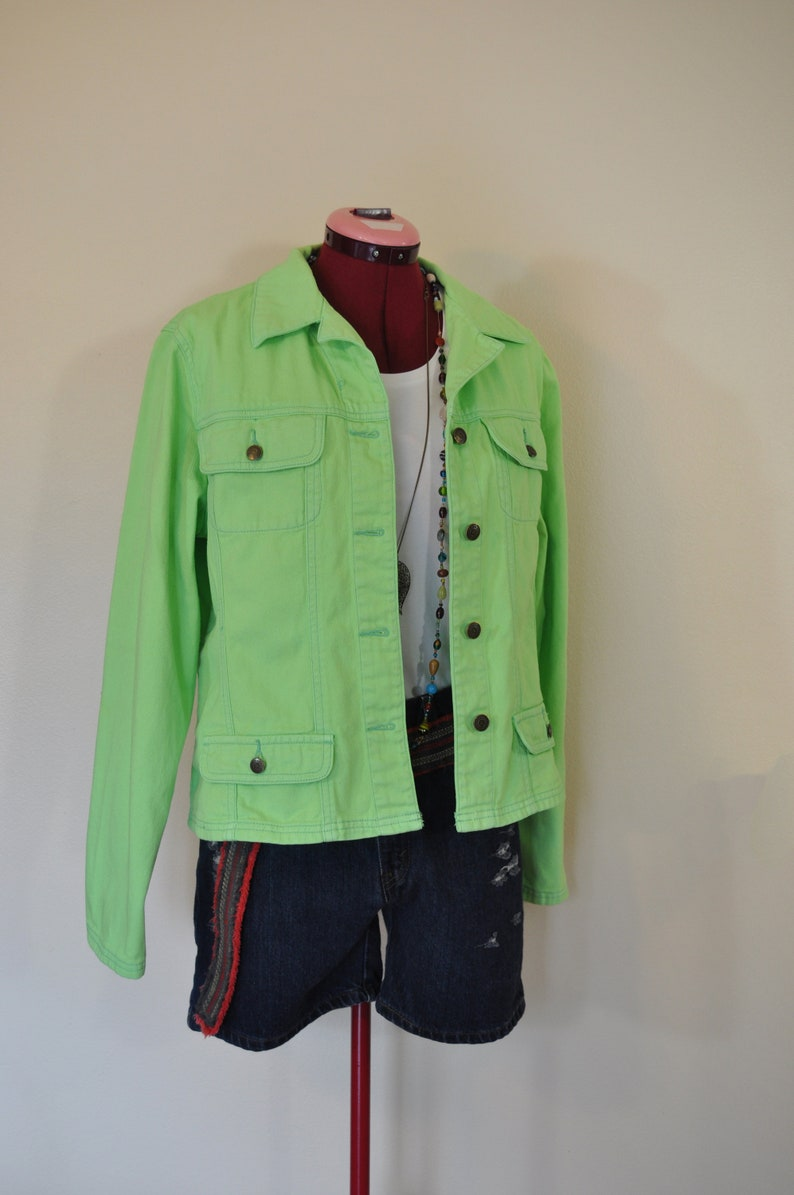 124c9f925e4 Lime Sz 16 XL Denim JACKET Neon Green Dyed Upcycled