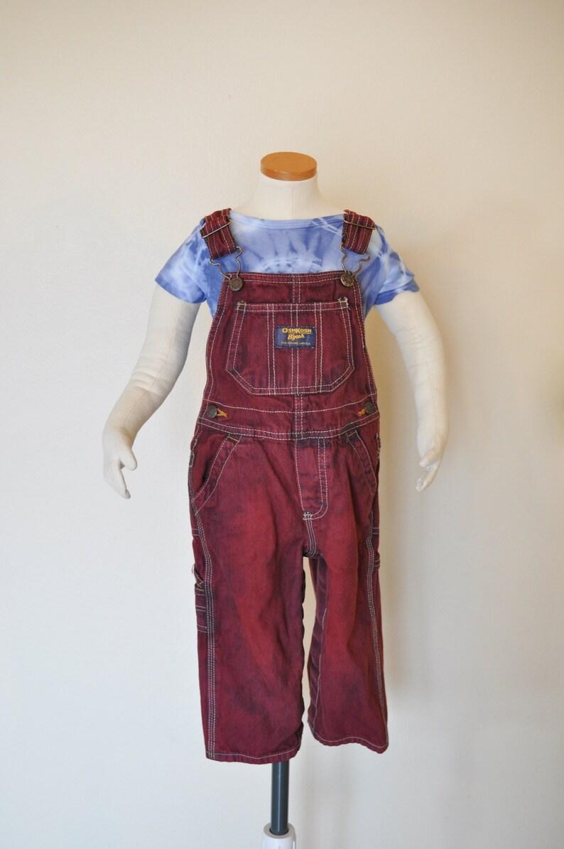 Girls Boys Size 18 Months 22 waist x 11 L Dyed Red Wine OshKosh Kids Denim Overalls Maroon Kids Size 18 months Bib OVERALL Pants
