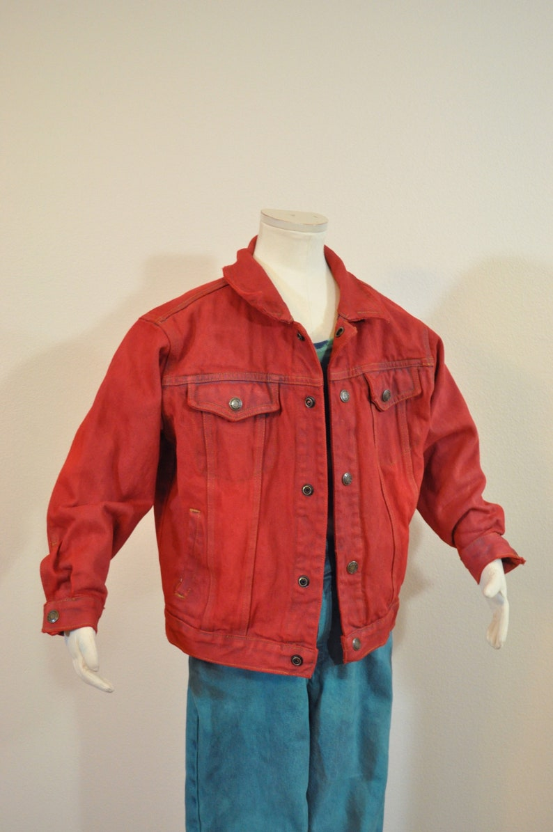 Childrens Boys Medium Large 34 chest Scarlet Red Dyed Upcycled Faded Glory Kids Denim Trucker Jacket Red Boys Sz 6 Year Denim JACKET