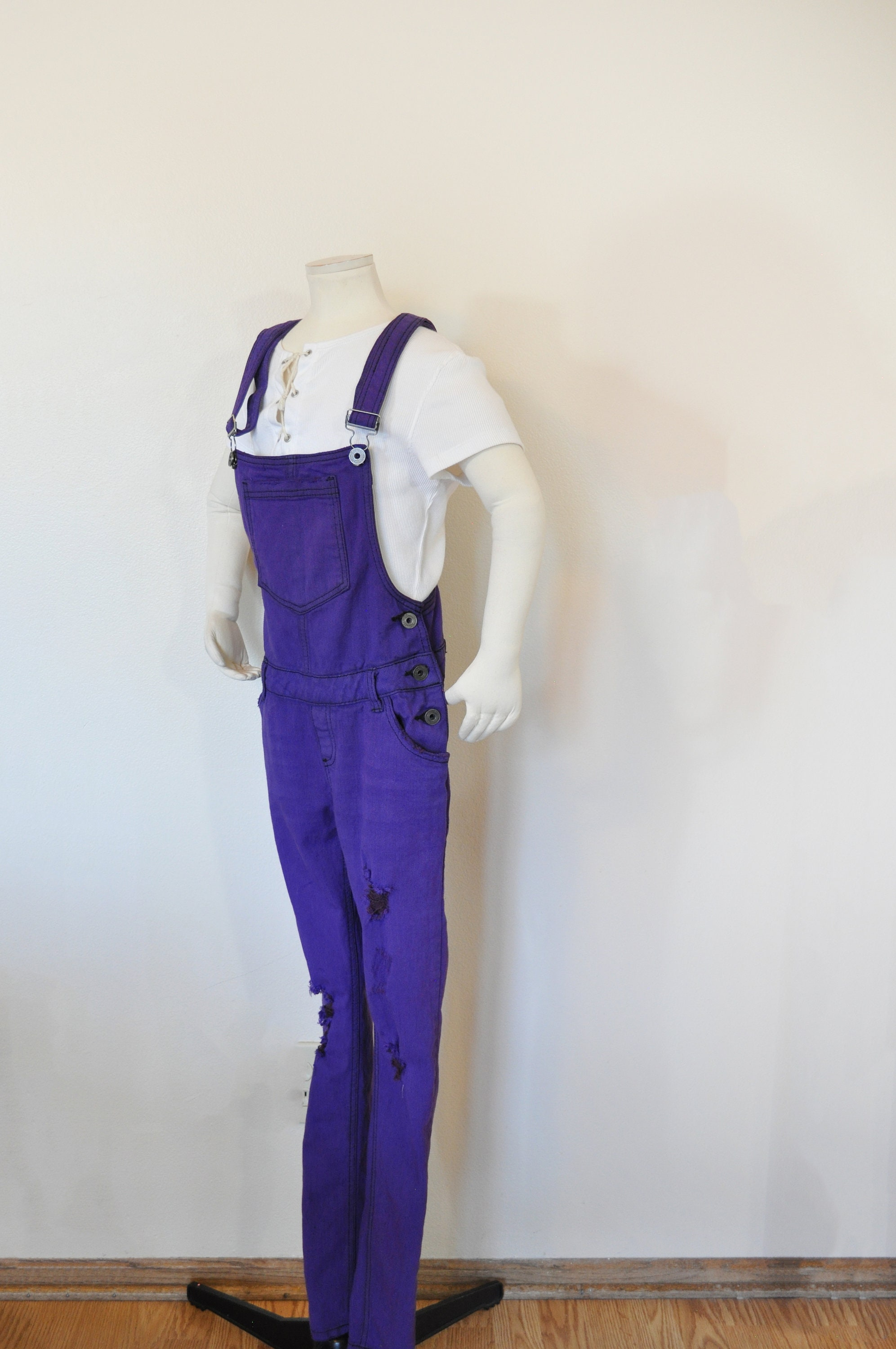 Vintage Overalls & Jumpsuits Purple Jrs Small Xs Bib Overall Pants - Violet Dyed Upcycled Denim  Co. Overall Adult Womens 2 Juniors Extra  28 W X 28 L $30.00 AT vintagedancer.com