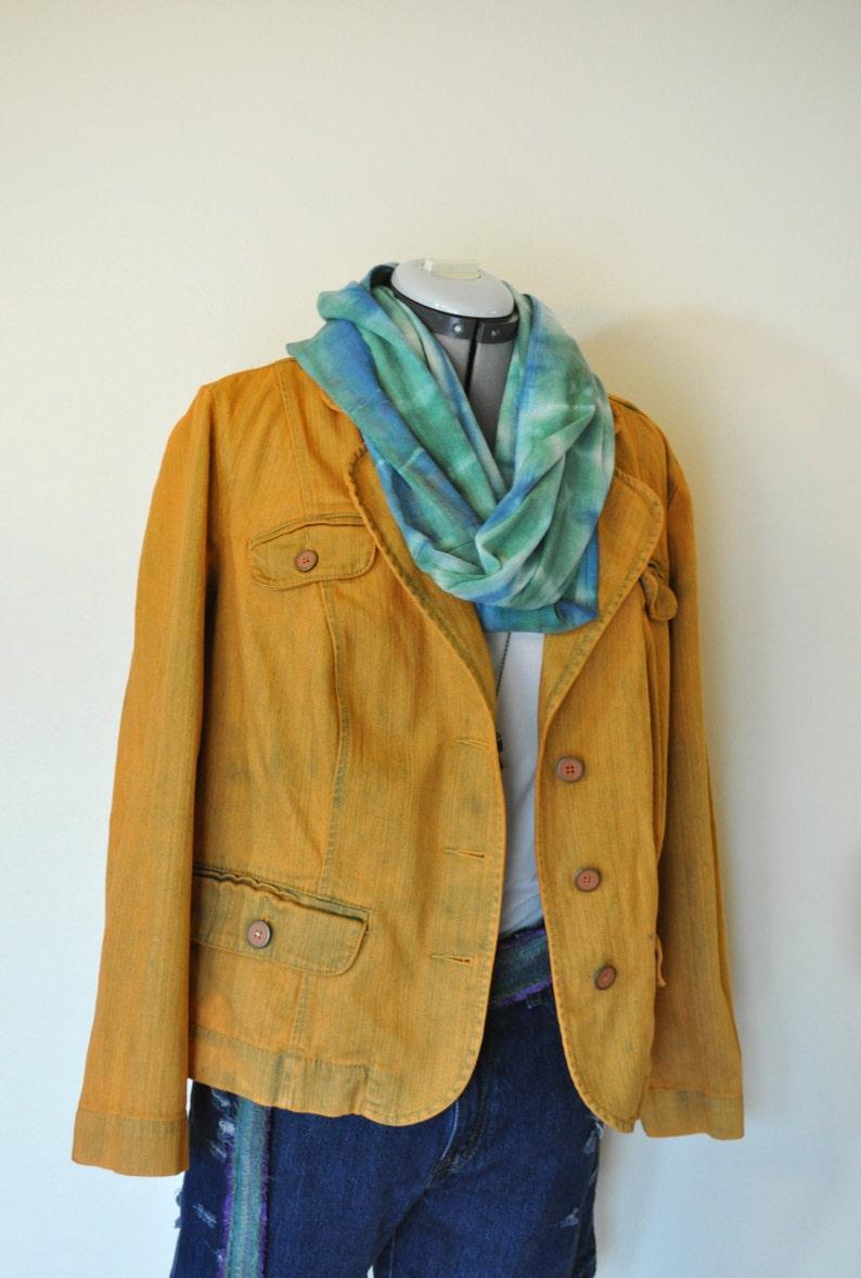 Gold 16W XL Denim JACKET Adult Womens Size 16W Extra Large Golden Topaz Hand Dyed Upcycled Fashion Bug Denim Blazer Jacket 46 chest