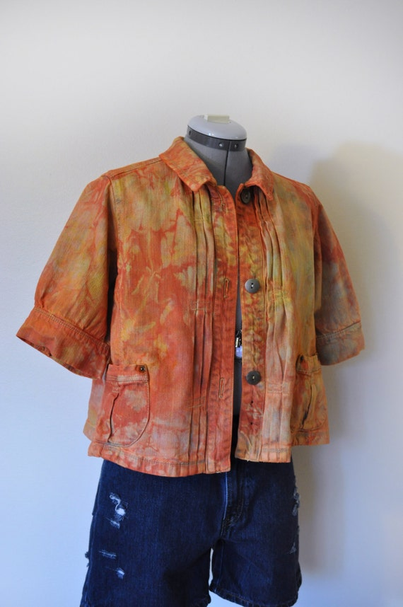 Orange Large Denim JACKET Yellow Orange Hand Dyed Upcycled Route 66 Denim Swing Blazer Jean Jacket Adult Womens Size Large (44