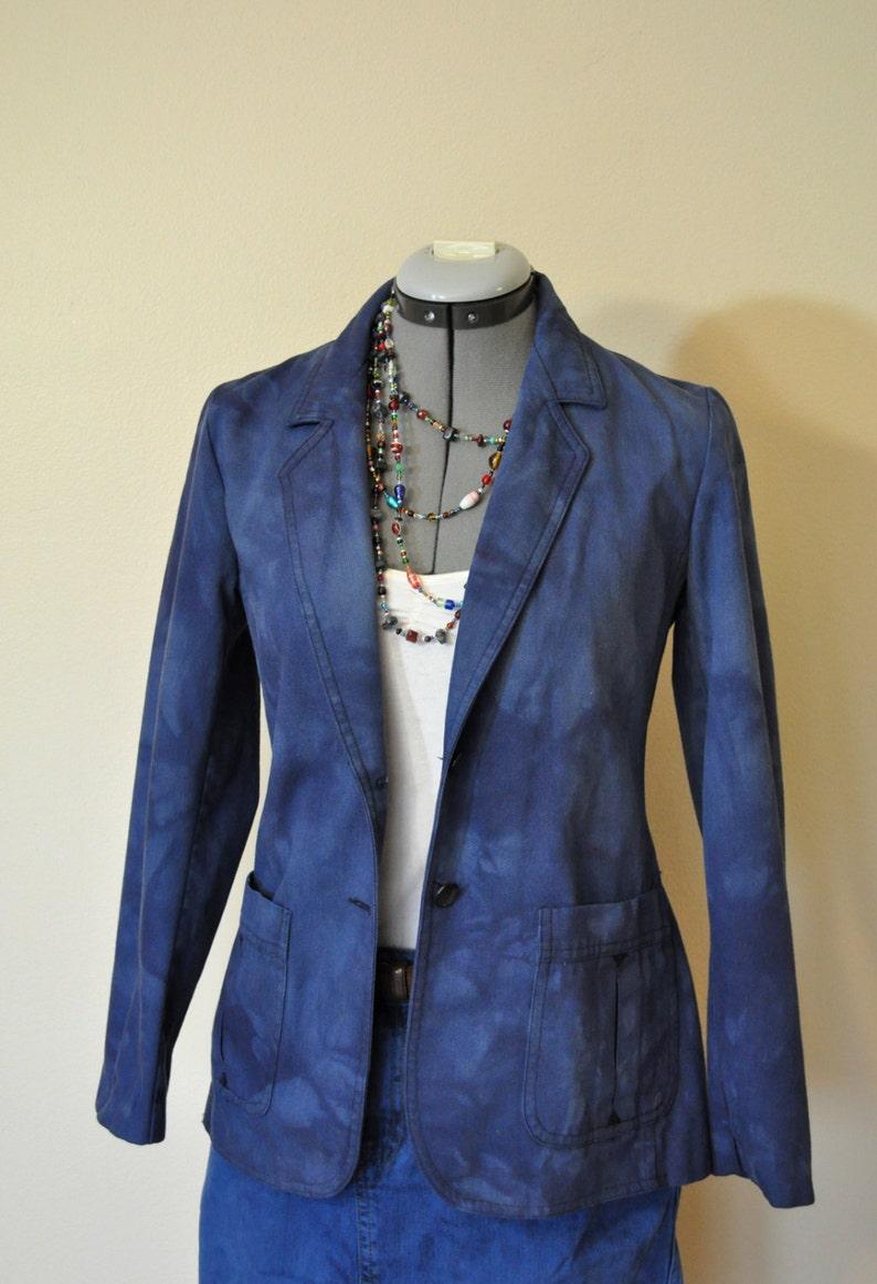 cfe2e98e95d87 Granatowy mały kurtka dżinsowa kolorowa marynarka odzysku | Etsy