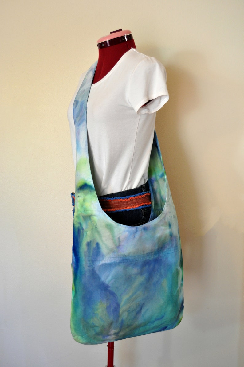Hand Made Ice Dyed Cotton Denim Handbag Over the Shoulder Messenger Book Laptop Tote 40 Blue Green Dyed Canvas Handbag Satchel