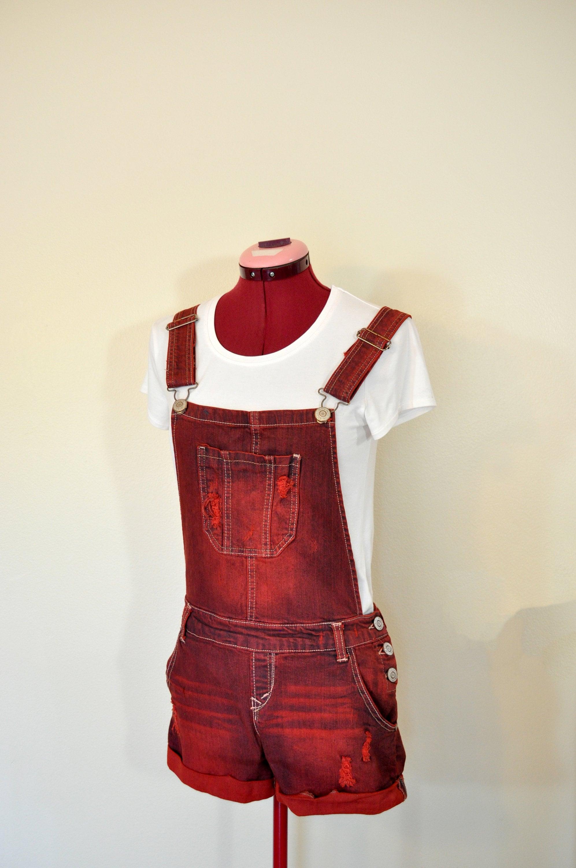 Vintage Overalls & Jumpsuits Red Jrs. Medium Bib Overall Shorts - Scarlet Dyed Upcycled Wall Flower Denim Shortalls Adult Womens Sz 79 Juniors  32 Waist $25.00 AT vintagedancer.com