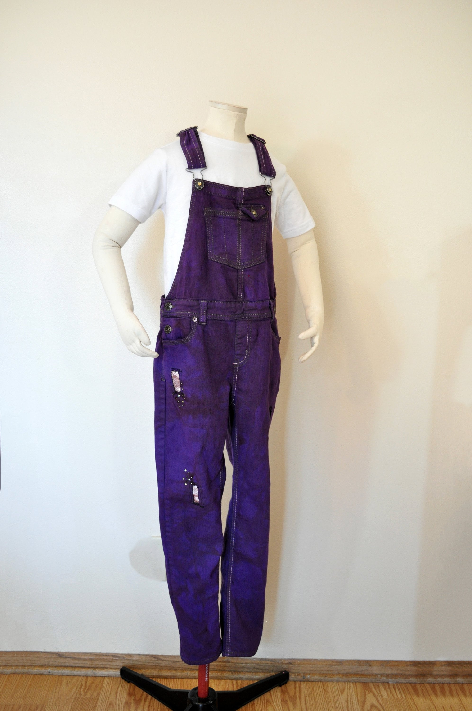 Vintage Overalls & Jumpsuits Violet Kid 1012 Large Bib Overall Pants - Purple Dyed Upcycled Jordache Denim Overalls Teen Girls Size 10-12  30W X 25L $25.00 AT vintagedancer.com
