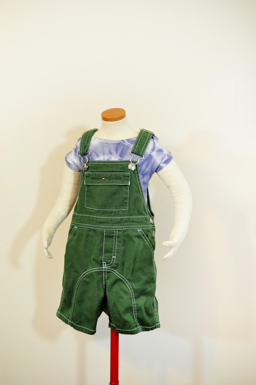 Vintage Overalls & Jumpsuits Green Kid 3T Bib Overall Shorts - Kelly Dyed Tommy Hilfiger Brand Denim Overalls Kids Child Boys Girls Size 3 Years  24 W X 3L $25.00 AT vintagedancer.com