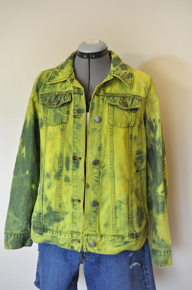 fba4ab17bb2 Lime Medium Denim JACKET Chartreuse Green Hand Dyed Upcycled
