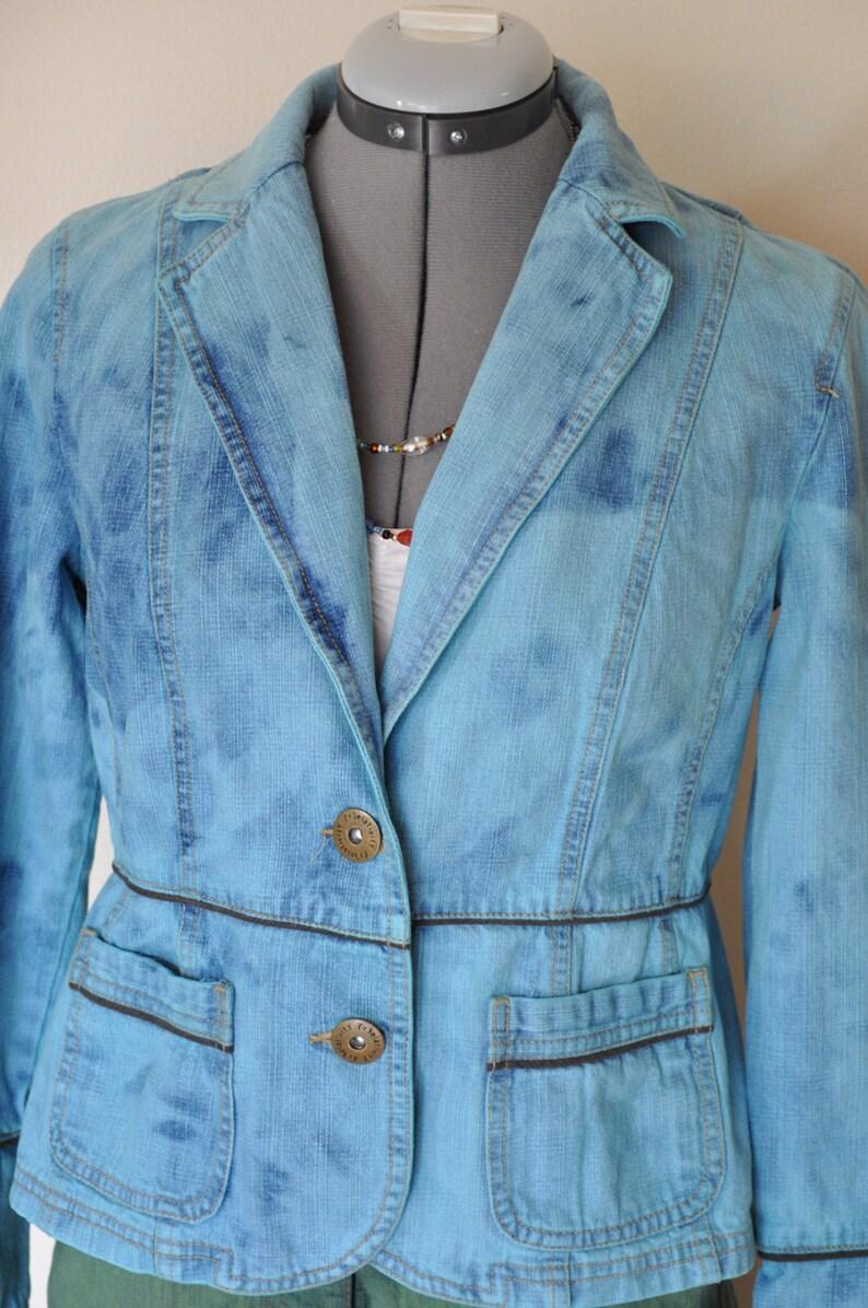 38 chest Aquamarine Dyed Upcycled Repurposed Relativity Denim Blazer Jacket Adult Womens Size Petite Medium Aqua Medium Denim JACKET