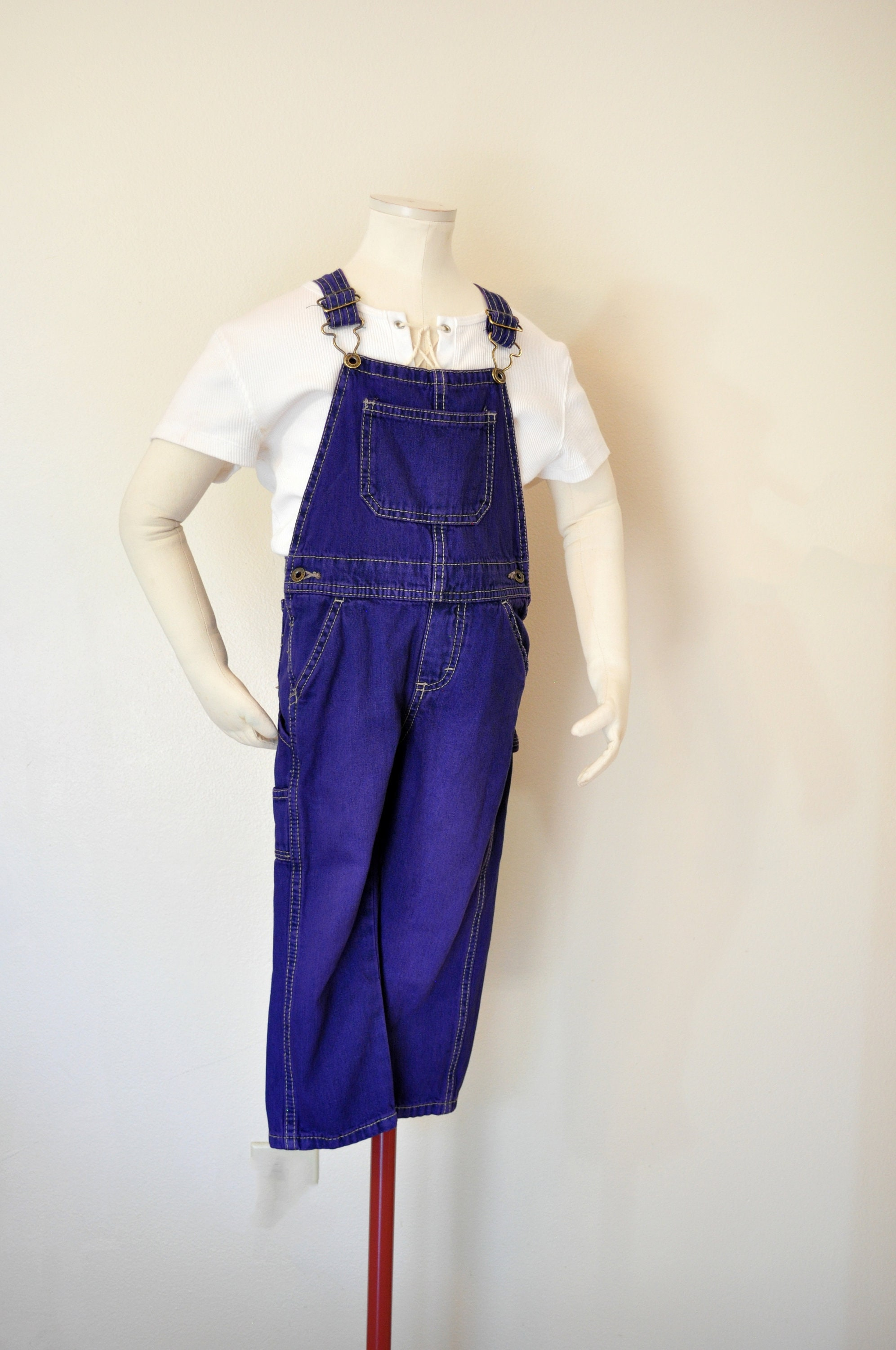 Vintage Overalls & Jumpsuits Purple Kids 4T Year Bib Overalls - Violet Dyed Upcycled Wrangler Denim Overall Pants Boys Girls Child Size 4 Years  22 Waist X 15 L $30.00 AT vintagedancer.com