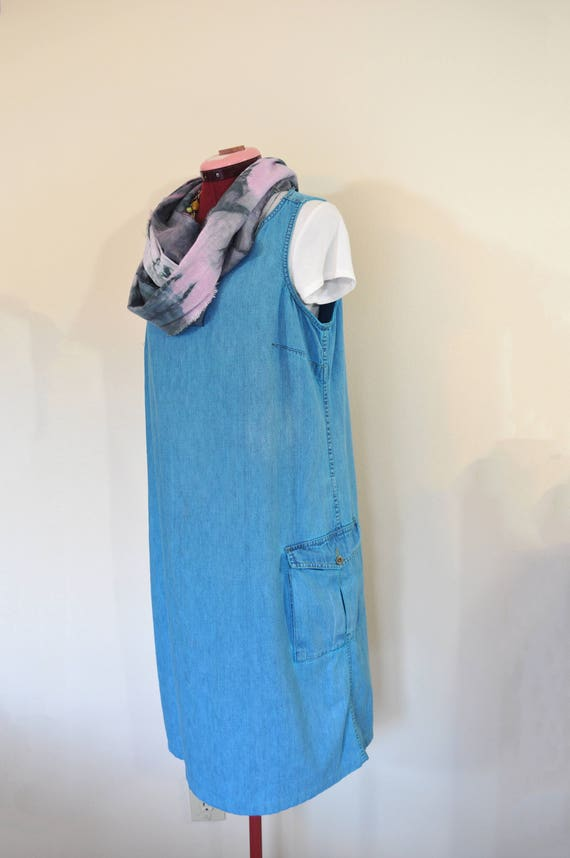 5647f591958 Aqua Large Denim Sun DRESS Aquamarine Teal Dyed Upcycled