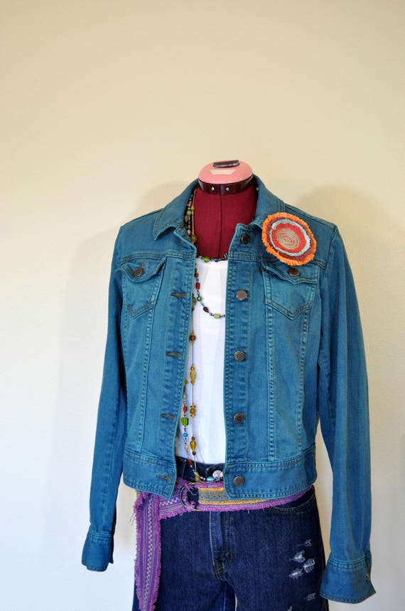 07ffd19c48a Teal Small Denim JACKET Dark Teal Green Dyed Upcycled
