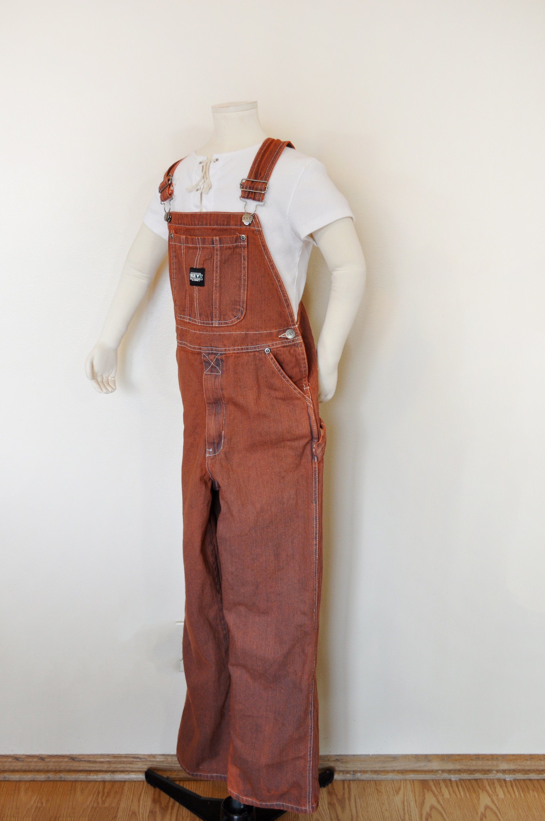 Vintage Overalls & Jumpsuits Orange 14 Large Bib Overall Pants - Dyed Upcycled Key Imperial Denim Overalls Teen Boys Girls Size  28W X 28L $25.00 AT vintagedancer.com