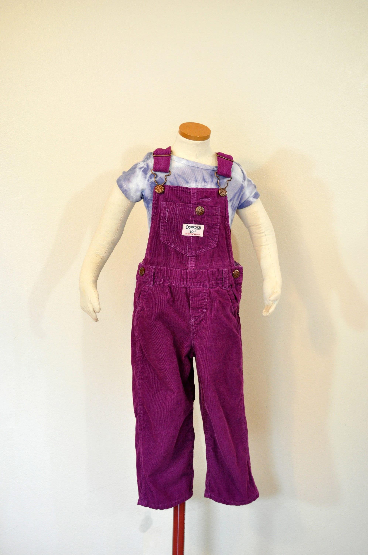 Vintage Overalls & Jumpsuits Magenta Pink Kid 2T Bib Overall Pants - Fuchsia Vintage Baby Oshkosh Corduroy Overall Child Toddler 2 Year  22 W X 11L $30.00 AT vintagedancer.com
