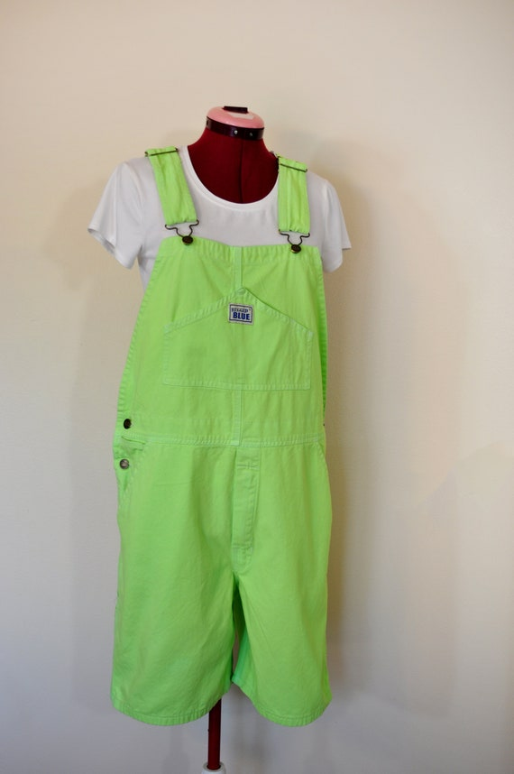 7c42fc576e5 Neon Green Small Bib OVERALL Shorts Neon Green Dyed NEW