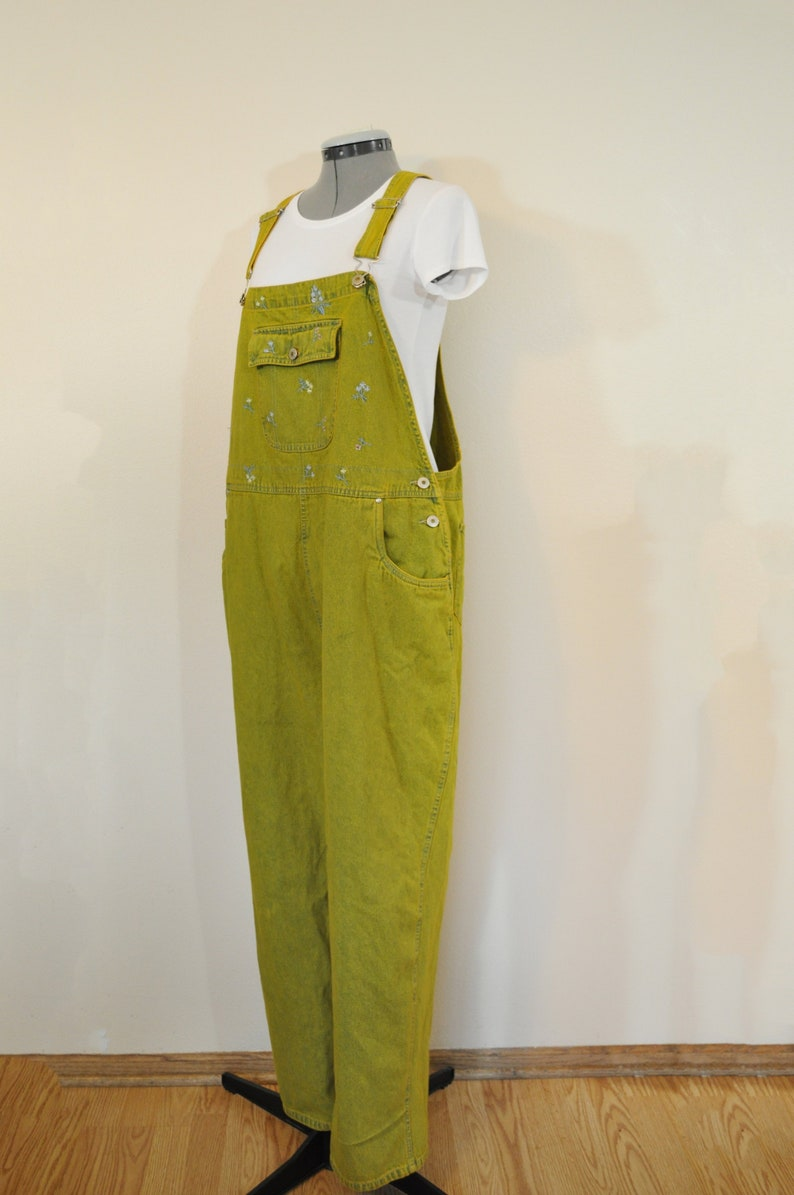 4a2bbc98818 Gold Womens 24W XL Bib OVERALLS Pants Yellow Dyed Upcycled
